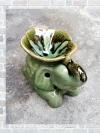 เตาศิลาดล กลาง รูปช้าง กับ ดอกลีลาวดี สีเขียวดำ