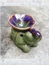 เตาศิลาดล กลาง รูปช้าง กับ ดอกลีลาวดี สีเขียวม่วง