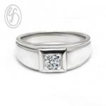 แหวนเงินผู้ชาย รูปหัวใจ ฝังเพชรสังเคราะห์ cz เกรด AAA เหมาะเป็นของขวัญในวันพิเศษ แหวนหมั้น แหวนแต่งงาน
