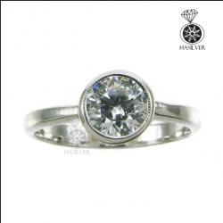 แหวนเงินแท้ แหวนเพชรCZ แหวนเพชรเม็ดเดี่ยวหญิง