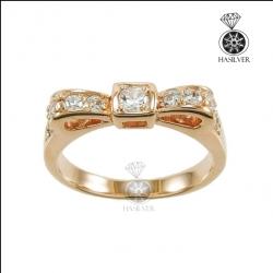 แหวนเงินแท้ แหวนเพชรCZ ชุบพิงค์โกลด์