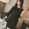 เดรสแฟชั่นเกาหลี ผ้าสำลี มีซิบซ่อนด้านหลัง แต่งลูกไม้ที่ชายกระโปรงและแขนเสื้อ แบบสวม ชุดสีดำ