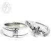 แหวนคู่รัก แหวนเงินแท้ 925 ฝังเพชร cz เพชรสังเคราะห์ เหมาะเป็นแหวนหมั้น แหวนแต่งงาน ของขวัญสำหรับคนพิเศษ