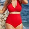 ชุดว่ายน้ำคนอ้วน เอวสูง สีแดง เซ็กซี่ XXL,3XL