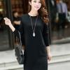 เดรสแฟชั่นเกาหลี ผ้า Cottonth มีกระเป๋าด้านหน้า 2 อัน แบบสวม ชุดสีดำ