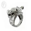 แหวนเงินเกลี้ยง เงินแท้ 92.5% แหวนมังกร ตาฝังเพชรสังเคราะห์ cz