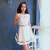 เดรสแฟชั่นเกาหลี ผ้า Nylon ตัดต่อผ้าตาข่าย แต่งซีทรูด้านบน+ช่วงเอว+ช่วงล่าง แบบสวม สีขาว