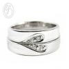 แหวนคู่รัก แหวนเงินแท้ 925 ชุบทองคำขาว แหวนประกบเป็นรูปหัวใจ ฝังเพชร cz เพชรสังเคราะห์ เหมาะเป็นแหวนหมั้น แหวนแต่งงาน ของขวัญสำหรับคนพิเศษ