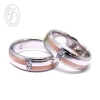 แหวนคู่รัก แหวนเงินแท้ 925 ผิวเรียบขัดเงา พ่นทรายทองชมพู ฝังเพชร cz เพชรสังเคราะห์ เหมาะเป็นแหวนหมั้น แหวนแต่งงาน