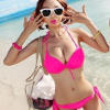 ชุดว่ายน้ำบิกินี่ทูพีช สีชมพูบานเย็น สวยเซ็กซี่