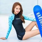 ชุดว่ายน้ำแขนยาวกัน UV ทูพีช มีฟองน้ำเสริม+ช่องสามารถถอดเสริมฟองน้ำได้ เสื้อเป็นแบบสวม