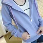 เสื้อคลุม แขนยาว มีฮูด สีม่วงอมฟ้า