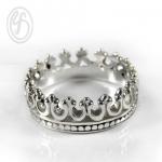 แหวนเงินเกลี้ยง เงินแท้ 92.5% แหวนมงกุฏ เงินขัดเงา หน้าหว้าง 6 มม.