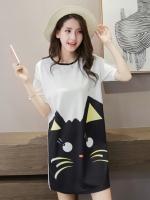 เดรสแฟชั่นเกาหลี ผ้า air layer แต่งลายตามภาพ แบบสวม สีขาว