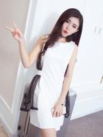 เดรสแฟชั่นเกาหลี ผ้า Spendex ตัดต่อผ้าตาข่าย มีซิบซ่อนด้านหลัง แบบสวม สีขาว