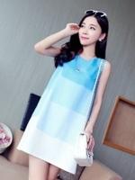 เดรสแฟชั่นเกาหลี ผ้าโทเรแต่งผ้ามุ้ง แบบสวม ชุดโทนสีฟ้า