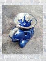 เตาศิลาดล กลาง รูปช้าง กับ ดอกลีลาวดี สีน้ำเงิน