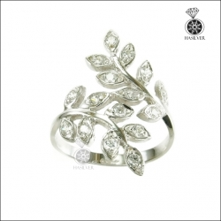 แหวนเงินแท้ ประดับเพชรCZ ดีไซน์สุดเก๋ รูปใบมะกอก