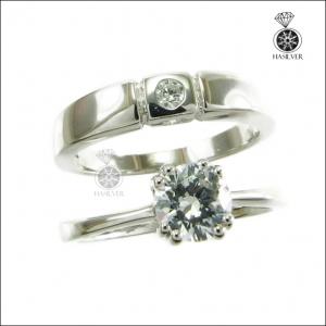 แหวนเพชรCZ คู่รัก เงินแท้925 แหวนแทนใจเพราะเราคู่กัน