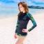 ชุดว่ายน้ำแขนยาว เสื้อน้ำเงินกรมท่า กางเกงขาสั้นตัดขอบเขียวสะท้อนแสง palm leaf thumbnail 5