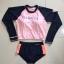 [พร้อมส่ง]BKN-024 ชุดว่ายน้ำแขนยาว เสื้อเอวลอยสีชมพู กางเกงกรมท่าแถบข้างสีส้ม thumbnail 6