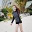 [พร้อมส่ง]BKN-798 ชุดว่ายน้ำแขนยาวสีดำลายจุดขาว แขนสกรีนลาย (เสื้อ+กางเกง) ผู้หญิง thumbnail 10