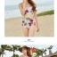 ชุดว่ายน้ำเอวสูง สีครีม ลายดอกไม้สวยๆ ((เสื้อเกาะอก ไม่มีสายคล้อง)) thumbnail 2