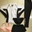 ชุดว่ายน้ำขายาว-แขนยาว เซ็ต 5 ชิ้น ขาวดำ บราสีชมพู+กกน.+ขาสั้น+ขายาว+เสื้อแขนยาว thumbnail 2
