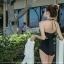 [พร้อมส่ง]BKN-031 ชุดว่ายน้ำวันพีชสีดำ เว้าหลักผูกโบว์สวยๆ thumbnail 4