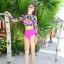 ชุดว่ายน้ำแขนยาว ลายดอกไม้ สีชมพูสดใส thumbnail 7