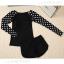 [พร้อมส่ง]BKN-480 ชุดว่ายน้ำแขนยาว+กางเกงขาสั้นสีดำแต่งโบว์ แขนสีดำลายจุดขาว thumbnail 1