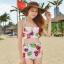 ชุดว่ายน้ำเอวสูง สีครีม ลายดอกไม้สวยๆ ((เสื้อเกาะอก ไม่มีสายคล้อง)) thumbnail 1
