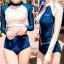 [พร้อมส่ง]BKN-024 ชุดว่ายน้ำแขนยาว เสื้อเอวลอยสีชมพู กางเกงกรมท่าแถบข้างสีส้ม thumbnail 3
