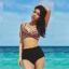 [พร้อมส่ง]BKN-358 ชุดว่ายน้ำเอวสูง บราลายสวยโทนแดงส้มดำ กางเกงสีดำ thumbnail 1