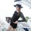 [พร้อมส่ง]BKN-480 ชุดว่ายน้ำแขนยาว+กางเกงขาสั้นสีดำแต่งโบว์ แขนสีดำลายจุดขาว thumbnail 9