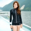 ชุดว่ายน้ำแขนยาวซิปหน้า กางเกงขาสั้น สีดำแต่งขอบขาว thumbnail 8