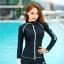 ชุดว่ายน้ำแขนยาวซิปหน้า กางเกงขาสั้น สีดำแต่งขอบขาว thumbnail 5