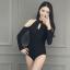 [พร้อมส่ง]BKN-472 ชุดว่ายน้ำแขนยาว วันพีชสีดำ คอจีน เปิดไหล่ สวยๆ thumbnail 7