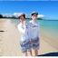 ชุดว่ายน้ำแขนยาว เสื้อสีขาว+กางเกงขาสั้นลายสวยโทนสีฟ้า thumbnail 3