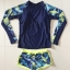 ชุดว่ายน้ำแขนยาว เสื้อน้ำเงินกรมท่า กางเกงขาสั้นตัดขอบเขียวสะท้อนแสง palm leaf thumbnail 10