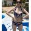 ชุดว่ายน้ำบิกินี่ทูพีช สีน้ำเงินแต่งลายธงสวยๆ thumbnail 4