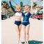 [พร้อมส่ง]BKN-024 ชุดว่ายน้ำแขนยาว เสื้อเอวลอยสีชมพู กางเกงกรมท่าแถบข้างสีส้ม thumbnail 5