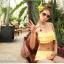 พร้อมส่ง]BKN-007 -- สีเหลือง -- ชุดว่ายน้ำบิกินี่ทูพีช แต่งระบายชั้นๆน่ารัก thumbnail 5