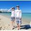 ชุดว่ายน้ำแขนยาว เสื้อสีขาว+กางเกงขาสั้นลายสวยโทนสีฟ้า thumbnail 4