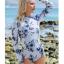 [พร้อมส่ง]BKN-533 ชุดว่ายน้ำแขนยาว พื้นสีขาวลายดอกไม้สีน้ำเงิน thumbnail 3
