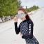[พร้อมส่ง]BKN-798 ชุดว่ายน้ำแขนยาวสีดำลายจุดขาว แขนสกรีนลาย (เสื้อ+กางเกง) ผู้หญิง thumbnail 4