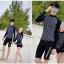 [พร้อมส่ง]BKN-798 ชุดว่ายน้ำแขนยาวสีดำลายจุดขาว แขนสกรีนลาย (เสื้อ+กางเกง) ผู้หญิง thumbnail 5
