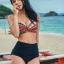 [พร้อมส่ง]BKN-358 ชุดว่ายน้ำเอวสูง บราลายสวยโทนแดงส้มดำ กางเกงสีดำ thumbnail 7