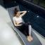 ชุดว่ายน้ำแขนยาว+ขายาว เซ็ต 4 ชิ้น สีดำแต่งลายเส้นสลับสีขาวดำ (บรา+บิกินี่+กก.ขายาว+เสื้อแขนยาว) thumbnail 2