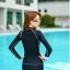 ชุดว่ายน้ำแขนยาวซิปหน้า กางเกงขาสั้น สีดำแต่งขอบขาว thumbnail 4